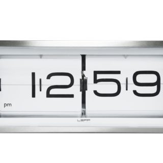 Brick Wall/Desk Clock, Stainless Steel - White Face-17692