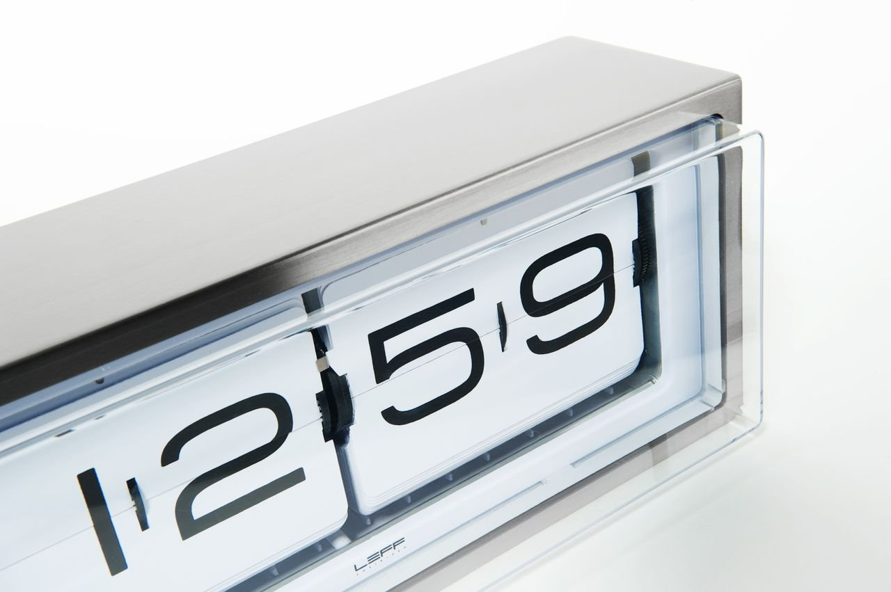 Brick Wall/Desk Clock, Stainless Steel – White Face-17694