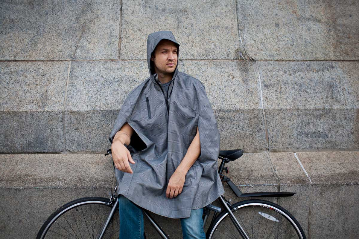 Electric Houndstooth, High-Performance Rain Cape by Cleverhood-22272
