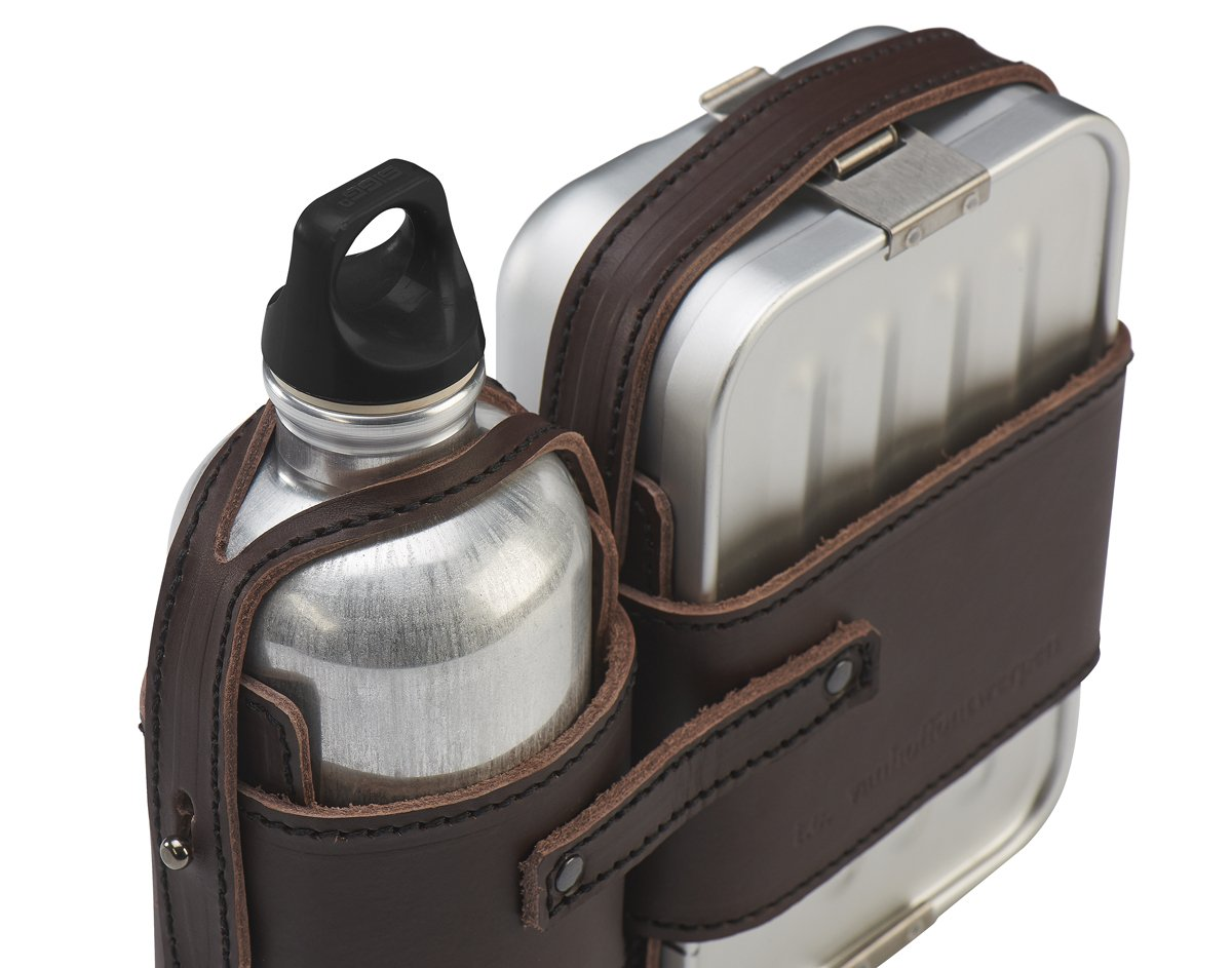Leather Strapped Canteen and Lunch Box Set-23818