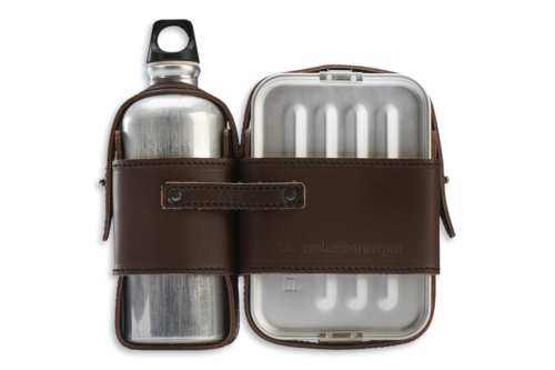 Leather Strapped Canteen and Lunch Box Set-0