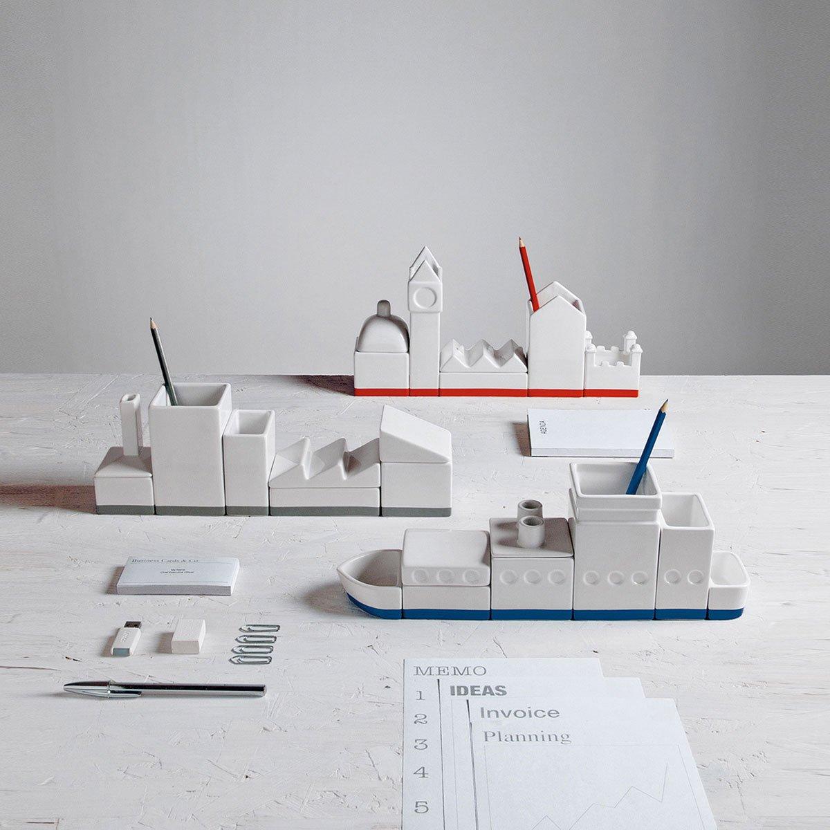 The City Porcelain Desk Organizer-24550