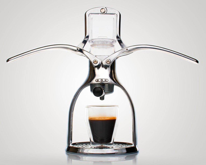 ROKMAKER Hand-powered Espresso Machine, Classic Aluminum -26337