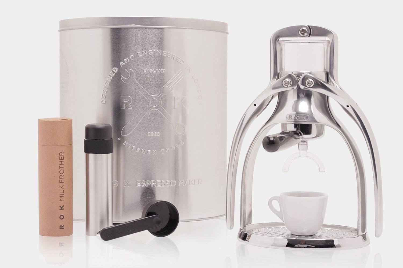 ROKMAKER Hand-powered Espresso Machine, Classic Aluminum -26336