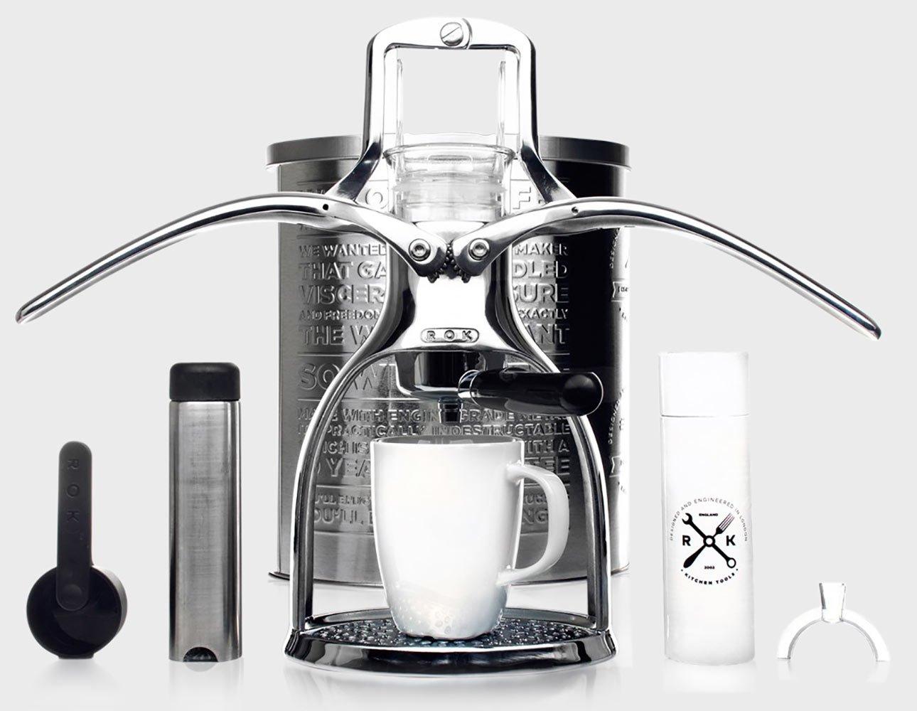 ROKMAKER Hand-powered Espresso Machine, Classic Aluminum -26338