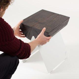 ½ Wooden Stool White-29568