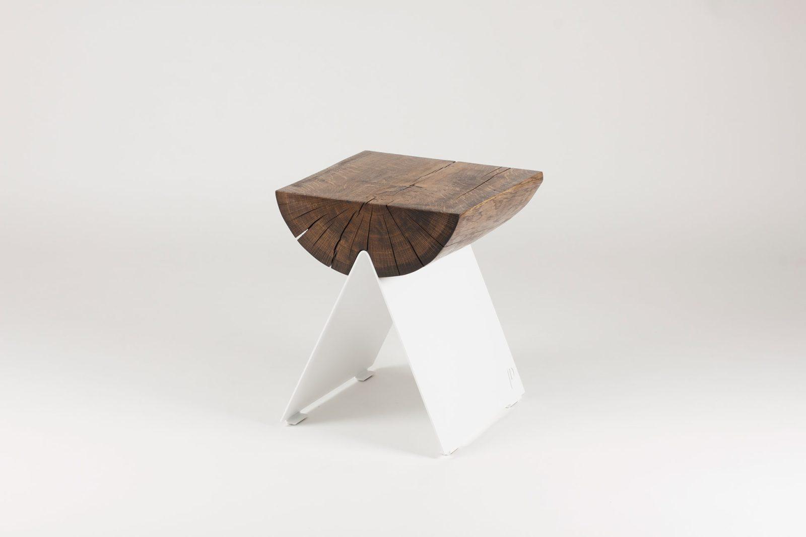 ½ Wooden Stool White-29566