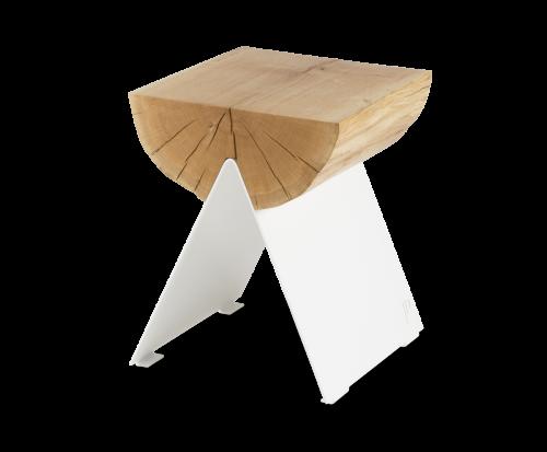 ½ Wooden Stool White-0