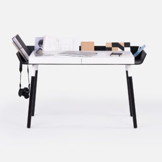 My Writing Desk, Double Drawer, Black-29755