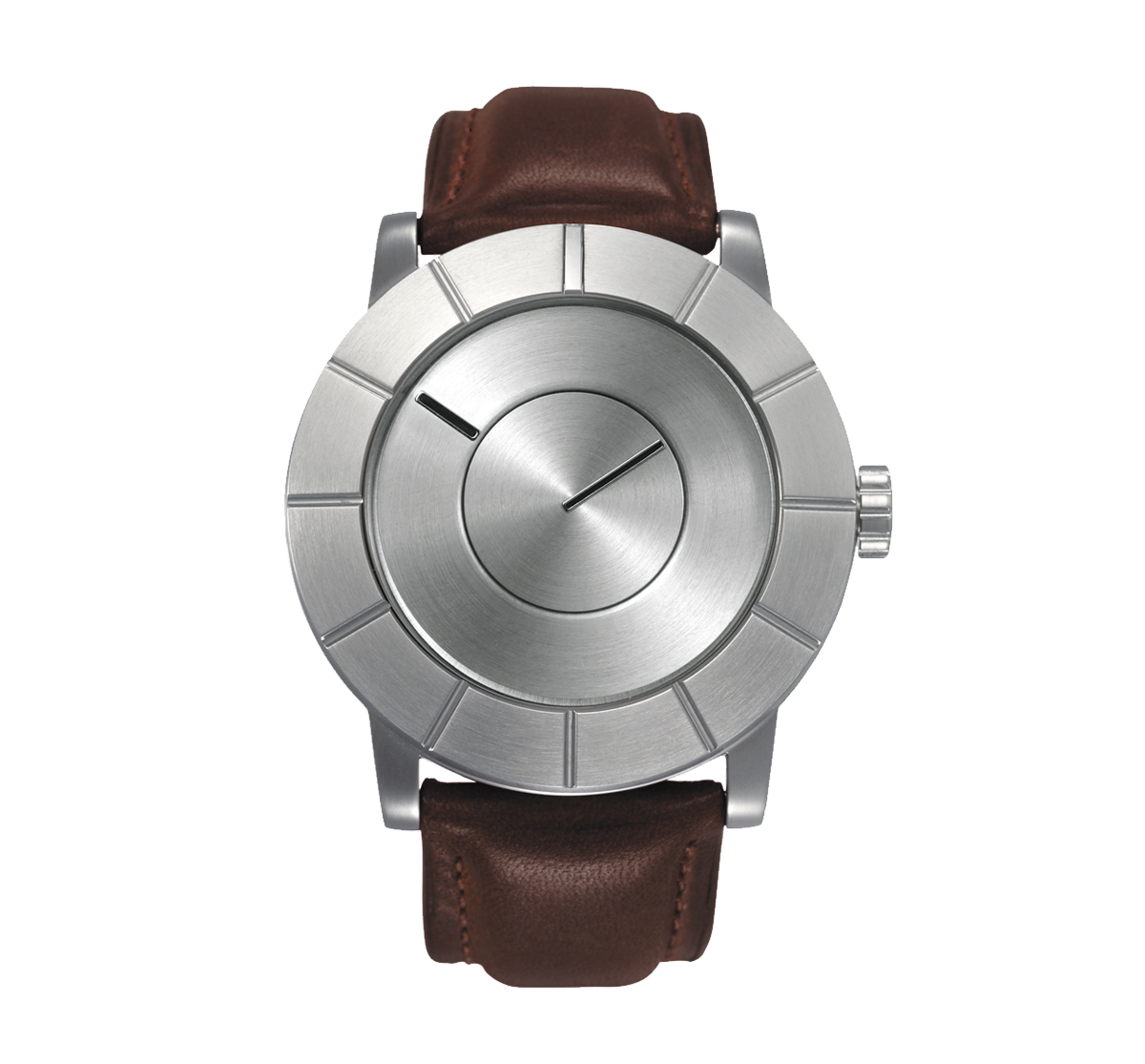 Issey Miyake TO Automatic Men's Silver Watch, Brown Leather-0