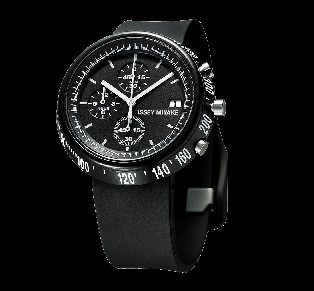 Issey Miyake Trapezoid Black Watch, Steel-0