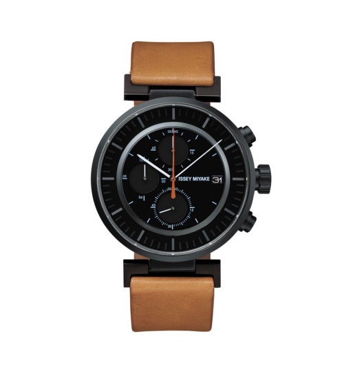 Issey Miyake W Black Chronograph Watch, Natural Leather-30680