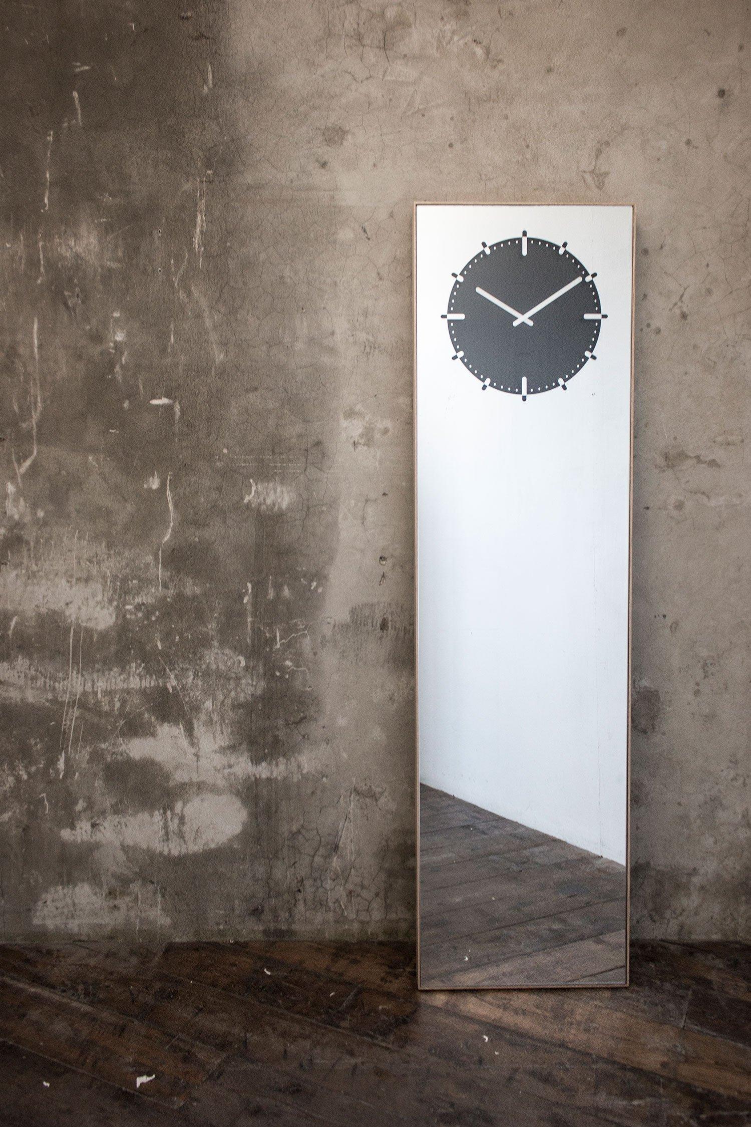 LEFF Amsterdam Inverse Mirror Clock, Black-30358