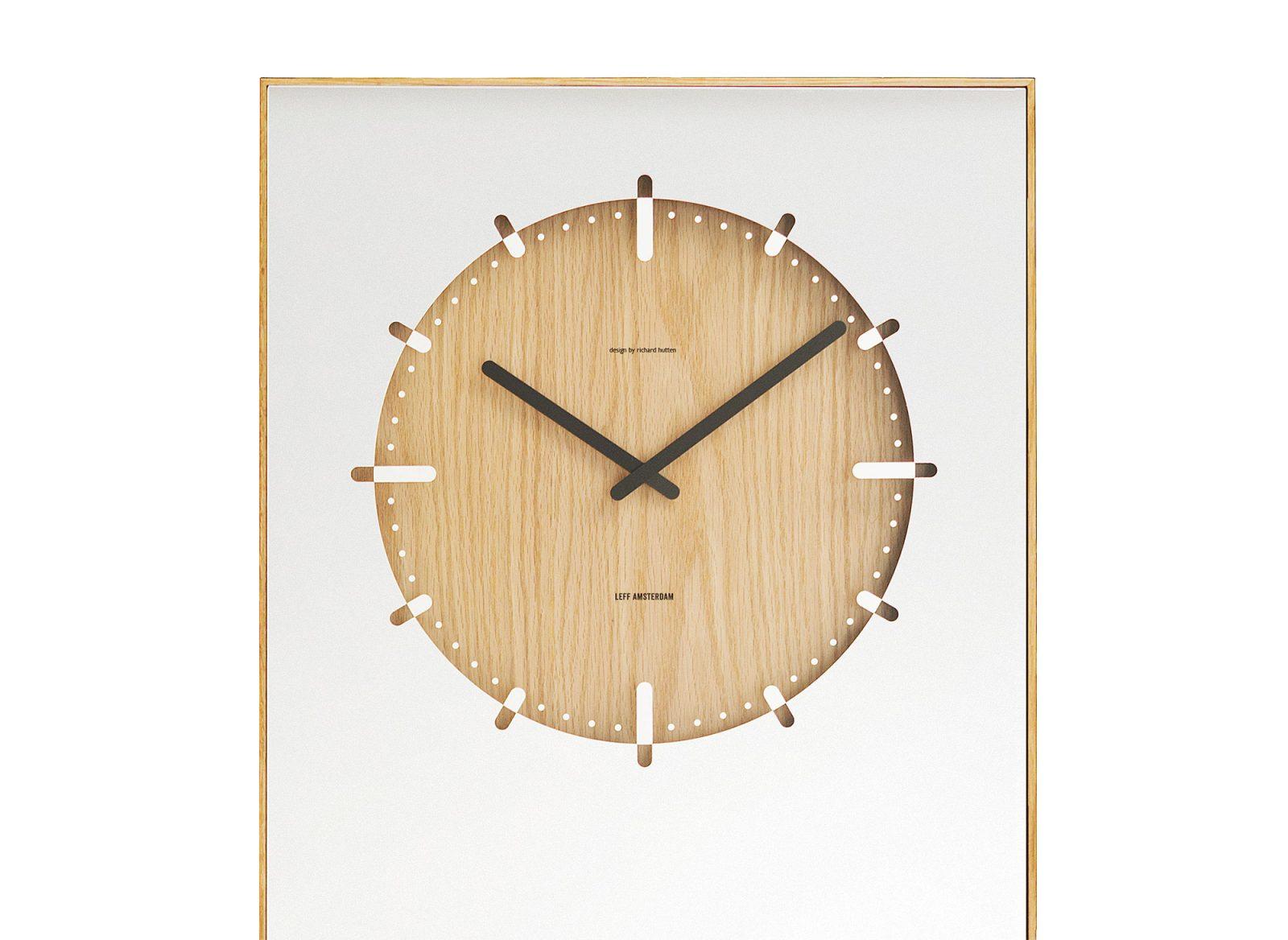 LEFF Amsterdam Inverse Mirror Clock, Natural-30362