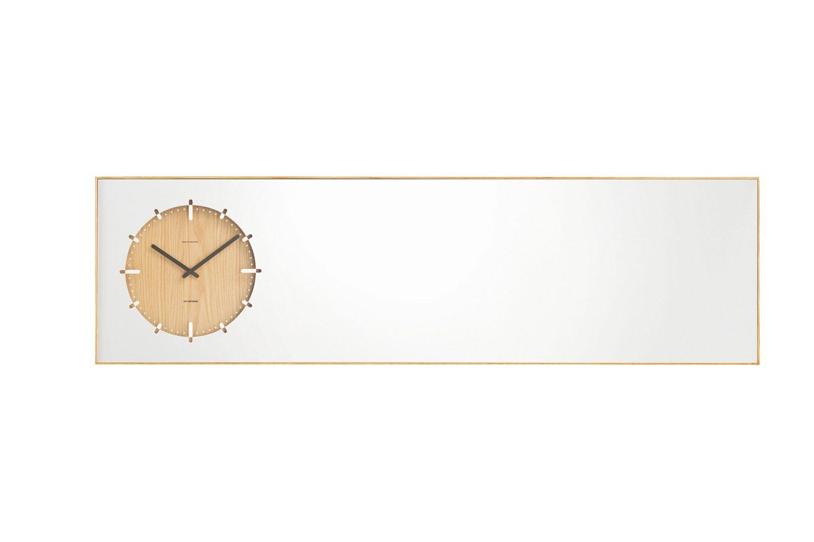 LEFF Amsterdam Inverse Mirror Clock, Natural-30367