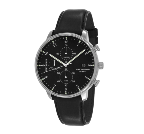 Issey Miyake C Black Chronograph Watch, Black Leather-0