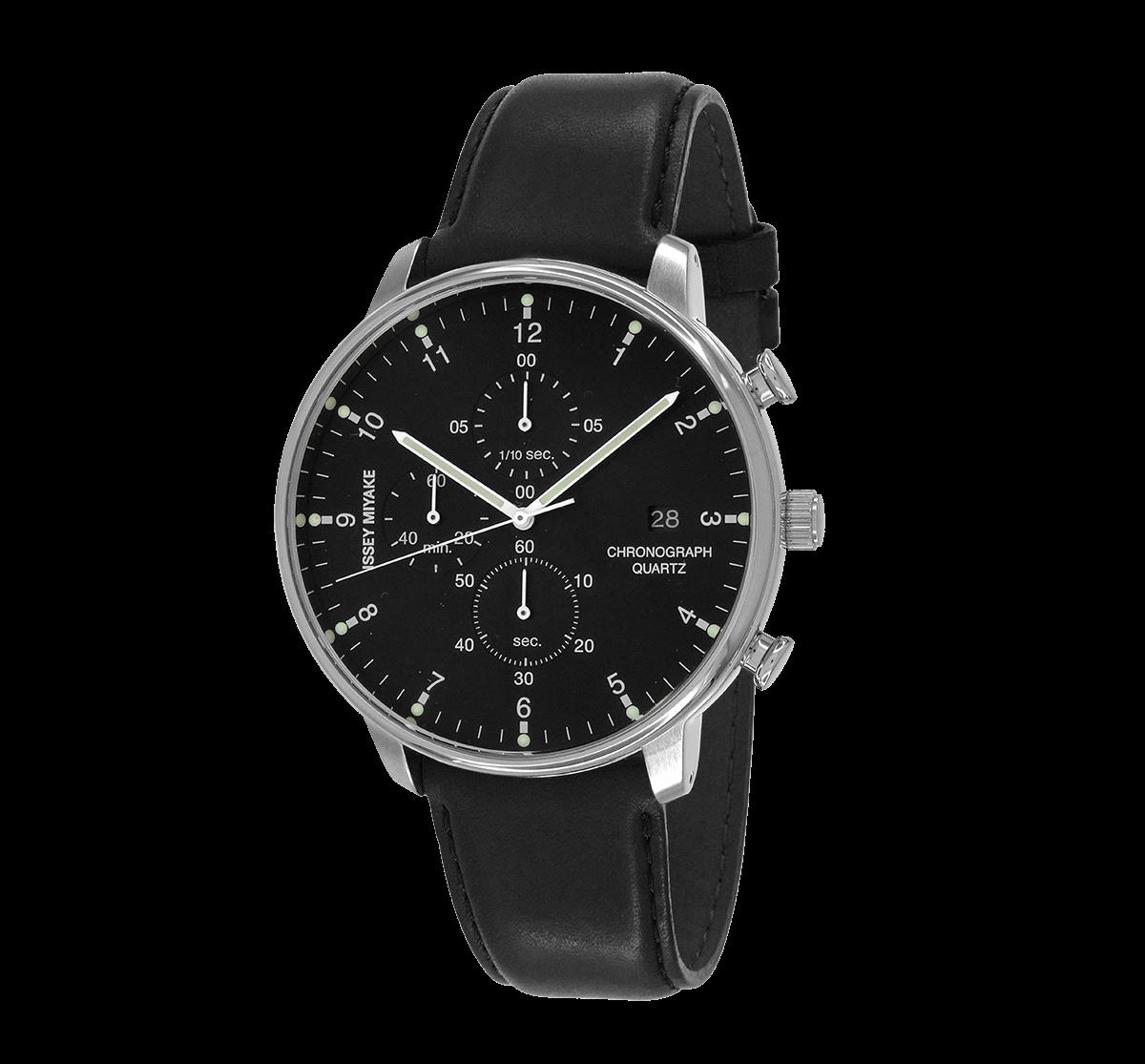 Issey Miyake C Black Chronograph Watch, Black Leather-0