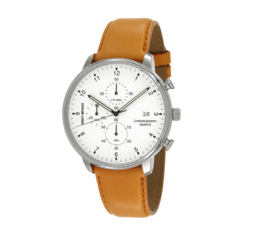 Issey Miyake C White Chronograph Watch, Tan Leather-0