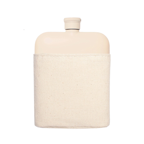 Flask with Canvas Carrier, Cream-0