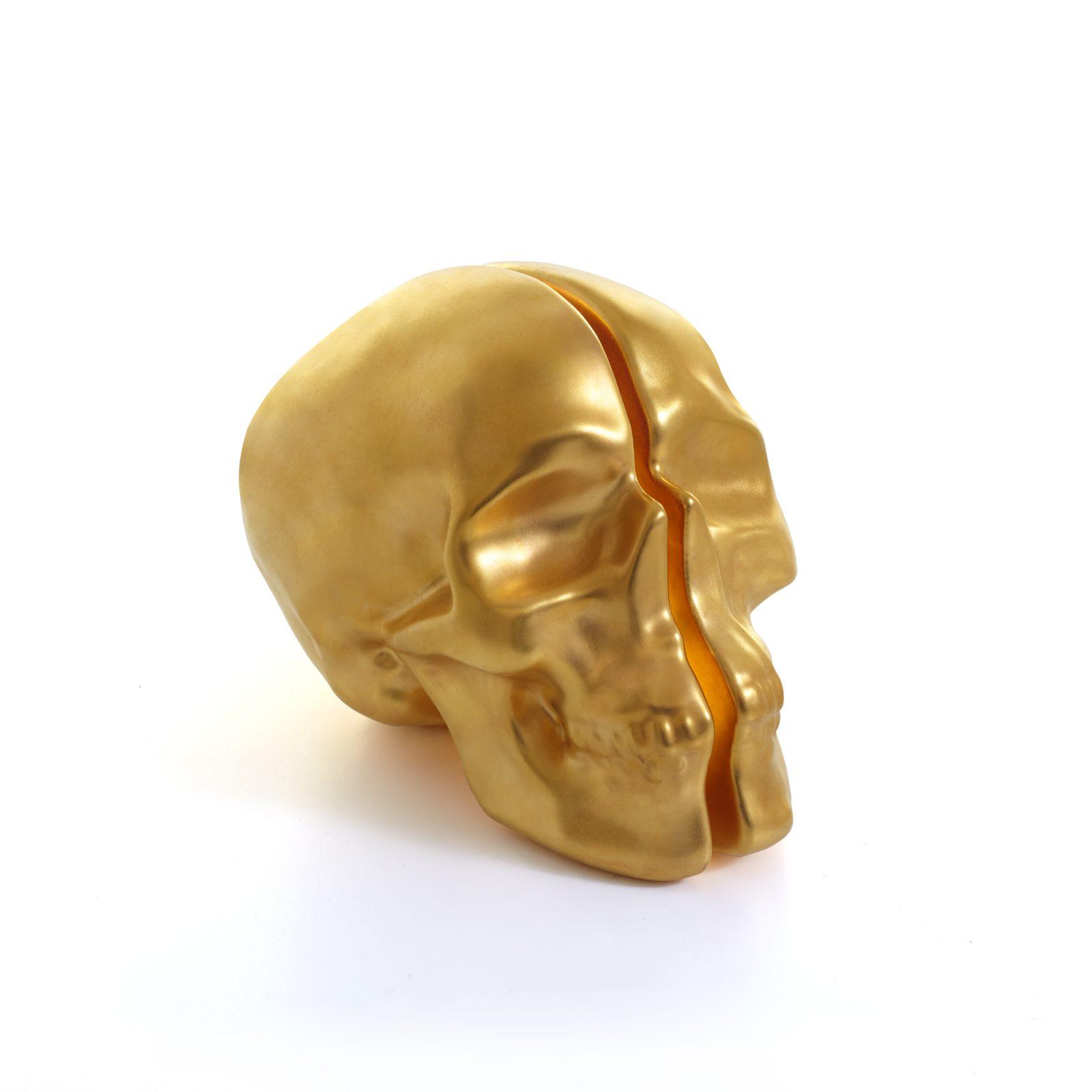 Yorick Skull Lamp, 24Kt Gold Hand Painted-34742