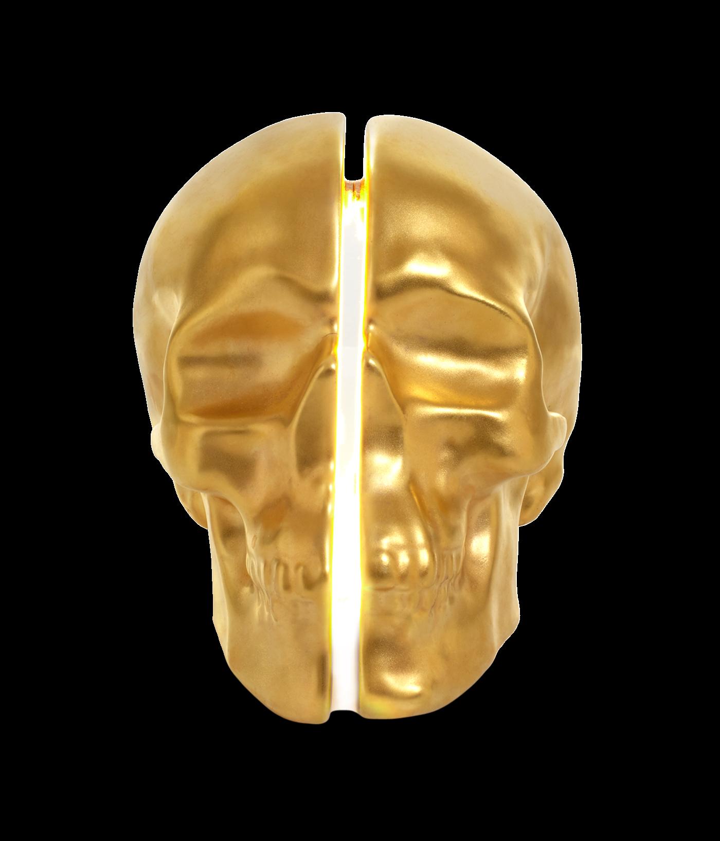 Yorick Skull Lamp 24kt Gold Hand Painted 0
