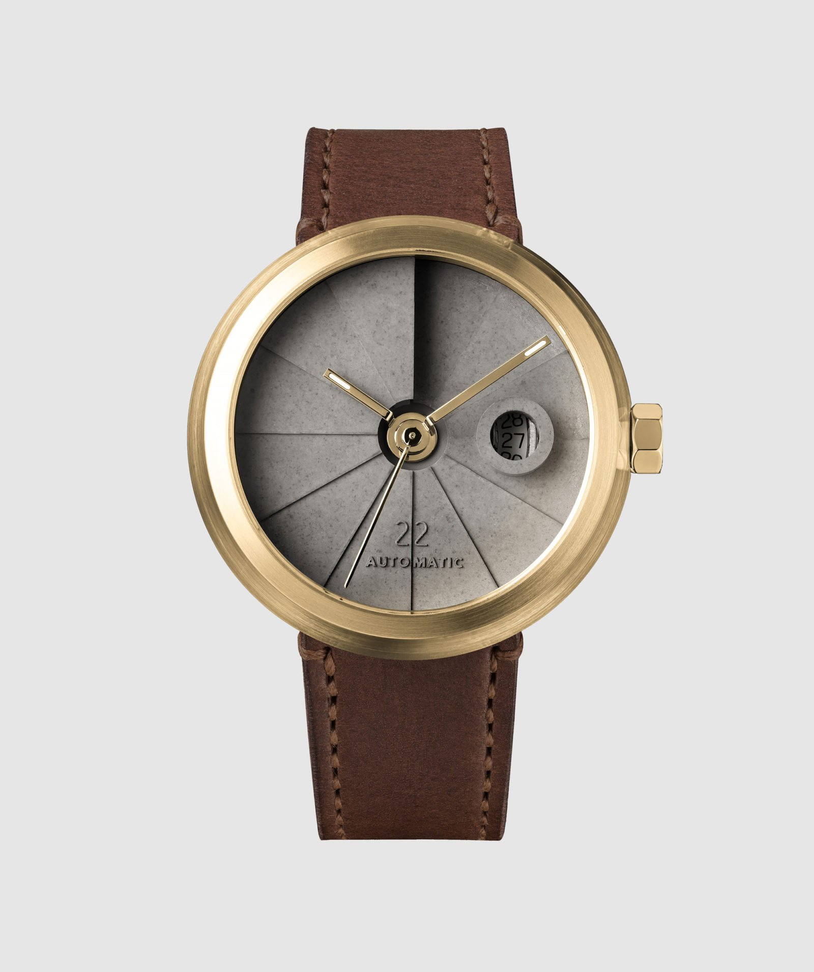 4D Concrete Automatic Watch – Minimal Brass-35116